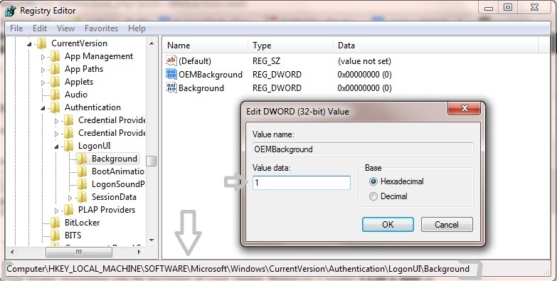 Win7Logon-Registry