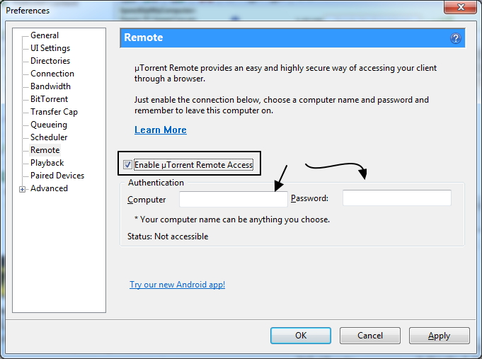 preferences-utorrent-remote